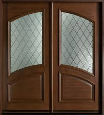 Dark Brown Wooden And Glass Double Entry Doors Of Entrancing