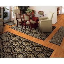 Damask Kitchen Rug Damask 4 Rug Set Black Walmart