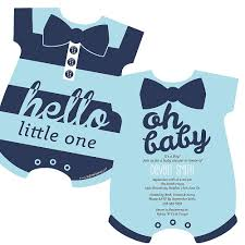 babyshower invitations hello one blue and silver baby bodysuit shaped boy baby