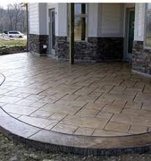 Backyard Stamped Concrete Patio Ideas Cement Stained To Look Like Wood Landscaping Pinterest