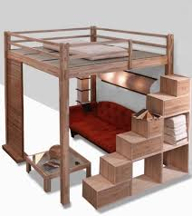 lit mezzanine et canapé decoration lit mezzanine deux places bois canapé rangements lit