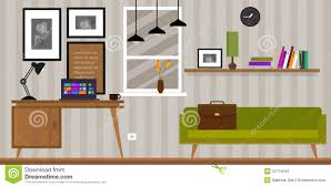 home interior work space table and sofa stock vector image 52774649