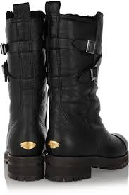 brown leather biker boots jimmy choo dwight shearling lined leather biker boots in black lyst