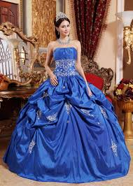blue color floor length ball dress military party