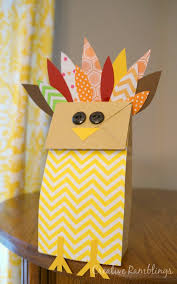 paper bag turkey thanksgiving craft crafts to do easy