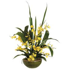 Silk Flowers Arrangements - silk oncidium orchid flower arrangement sa wf3410