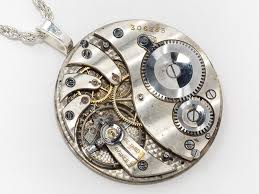 necklace with watch pendant images Steampunk clockwork necklace pocket watch movement with gears ruby jpg