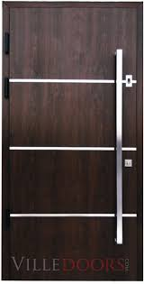 Steel Exterior Entry Doors Sofia Stainless Steel Modern Entry Door In Walnut Finish