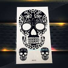 1pc water transfer henna black death skull tattoo paste paq 101