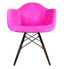 designer shocking pink velvet fabric eames style accent arm chair