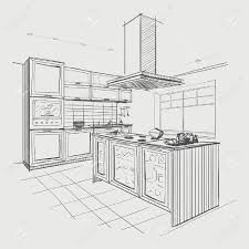 interior sketch of modern kitchen with island royalty free