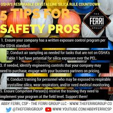 osha silica rule table 1 silica safety for the safety professional the ferri group