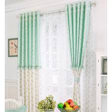 Green Kids Curtains Blue Tree Print Polyester Custom Kids Curtains