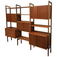mid century modern teak wall unit or storage 1950s scan style at