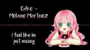 nightcore cake with lyrics youtube