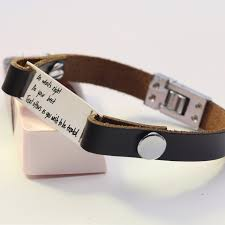 personalized bracelet customized personalized bracelet men leather bracelet silver