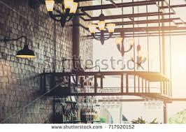 modern loft style restaurant decoration hanging stock photo