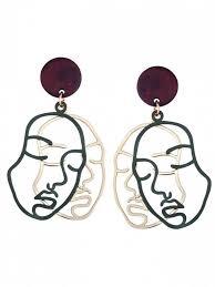 human earrings outline human drop earrings green earrings zaful