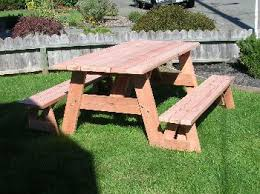 Wooden Picnic Tables With Separate Benches 6 Foot Redwood Picnic Table With Separate Benches