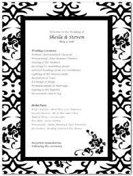 black wedding programs printable decorative black wedding program template