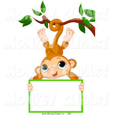 clip art of a friendly cute monkey hanging from a tree with a sign