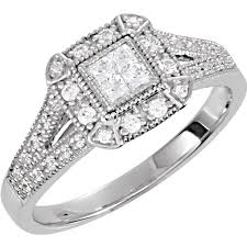 silver zirconia rings images Sterling silver cz cubic zirconia halo princess cut antique jpg