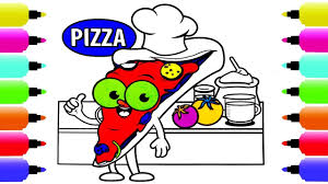 cartoon pizza chef in the kitchen coloring page how to draw