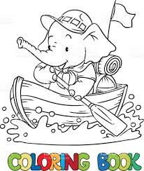 little baby elephant floating by boat scout stock vector art