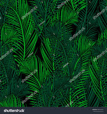 Jungalow Seamless Tropical Pattern Palm Branch Leaves Stock Vector