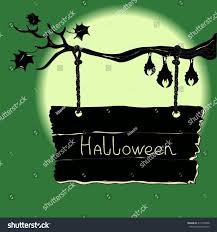 halloween sign board hanging on tree stock vector 211242058