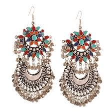 buy earrings online buy earrings afghan color chandbali oxidized earrings online