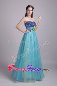 and flower accent prom bridesmaid dresses in baby blue