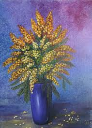 flower painting handmade livemaster handmade bouquet of mimosa oil painting flowers in