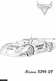 cars 2 nissan r390 gt race car printable coloring