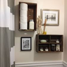 simple dark brown wall mounted wooden bathroom organizer aside