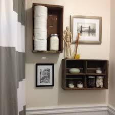 simple dark brown wall mounted wooden bathroom organizer aside