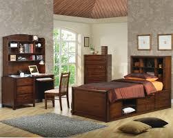 Wood Bed Frame With Shelves Bedroom Kids Bedroom Idea With Brown Wooden Bed Frame Designed
