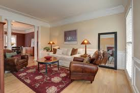 traditional living room with hardwood floors wainscoting in