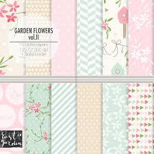spring floral digital paper with birdhouses shabby chic patterns