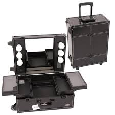 rolling makeup case with lighted mirror sunrise justcase pro studio makeup rolling cosmetic train case w