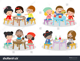 set family sitting dining table family stock vector 365523428