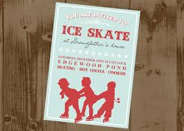 ice skating birthday party invitations ice skating printable party invitation vintage style the