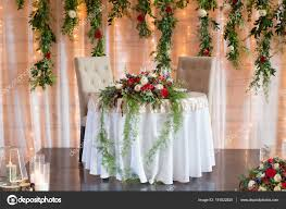 bride and groom sweetheart table sweetheart table for bride and groom stock photo joshuarainey