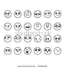 doodle emoticon set lovely kawaii emoticon doodle stock vector 621082595