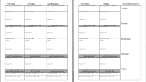 weekly lesson plan template doc template design