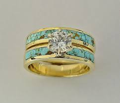 gold wedding set wedding engagement rings southwest wedding rings turquoise
