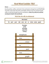 root word ladder tele worksheet education com