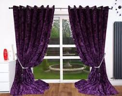 Thick Purple Curtains Crush Velvet Curtains Eyelet Ring Top Thick Ready Made Fully Lined