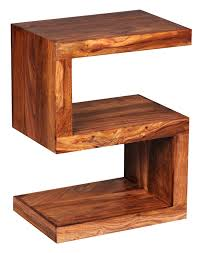 wohnling solid wood side table s cube 45 x 30 x 60cm with shelf