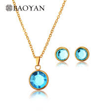 zircon blue necklace images Buy stainless steel gold color necklace earring jpg